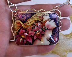 Dreamer. Red orchids. necklaces, Pendant. Cloisonne enamel. Jewelry, sterling silver. Georgian cloisonné enamel.