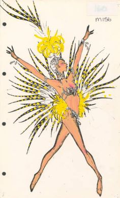 "Pete Menefee costume design for Jubilee!, 1981. Showgirl in jewelled bikini and headdress with yellow and black feathers. Part of the UNLV Libraries ""Showgirls"" digital collection."