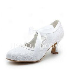 Wedding Shoes - $49.99 - Satin Spool Heel Closed Toe Pumps Wedding Shoes With Ribbon Tie (047004932) http://jjshouse.com/Satin-Spool-Heel-Closed-Toe-Pumps-Wedding-Shoes-With-Ribbon-Tie-047004932-g4932