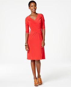 NY Collection B-Slim Three-Quarter-Sleeve Dress - Dresses - Women - Macy's