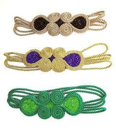 CINTURONES Y FAJINES para bodas y celebraciones : Cinturones pasamanería, cinturones boda, cinturones vestidos, cinturones joya, cinturones cordón de seda, cinturones mujer, cinturónes oro Kaftan, Craft, Bracelets, Jewelry, Fashion, Necklaces, Gold Belts, Hand Bags, Girdles