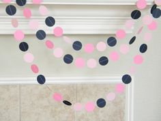 Navy Pinks Paper Garland Nautical Wedding by TheKraftRoom on Etsy Blue Birthday Parties, Birthday Party Decorations, Girl Birthday, Wedding Decorations, Nautical Party, Nautical Wedding, Baby Shower Themes, Shower Ideas, Shower Baby
