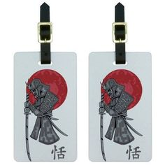 Samurai and Red Moon Japanese Asian Sword Luggage Tags Suitcase ID, Set of 2, Multicolor