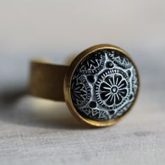 Black Moroccan Mosaic Ring