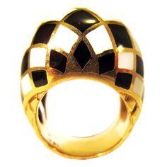 David Webb 18kt yellow gold enamel dome ring.