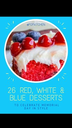 Blue Desserts, Mini Desserts, Summer Desserts, No Bake Desserts, Memorial Day Desserts, Something Sweet, Holiday Festival, Dessert Bars, 4th Of July