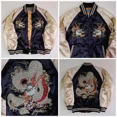 Japanese Vintage HOSHIHIME Dragon Ryu Tattoo Yakuza Black Gold Embroidery…