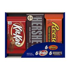 Amazon.com : HERSHEY'S Chocolate Candy Bar Assorted Variety Box (HERSHEY'S Milk Chocolate, KIT KAT, REESE'S Cups), Full Size Bars, 18 Count Gift Box : Chocolate And Candy Assortments : Grocery & Gourmet Food Hershey Milk Chocolate Bar, Chocolate Wafers, Chocolate Peanuts, Reeses Peanut Butter, Hersheys, Individually Wrapped Candy, Halloween Candy Bowl, Gourmet