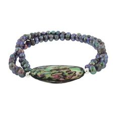 """Sterling Silver Peacock Freshwater Pearl and Abalone Double Strand Bracelet, 7.5"""" Amazon Curated Collection. $19.00. Made in Thailand. Save 71% Off!"""