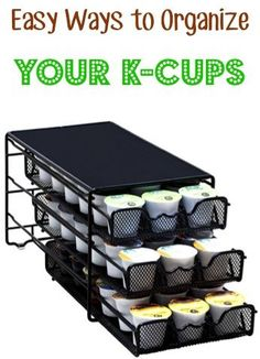 Easy Ways to Organize your K-Cups!  Keep your coffee counter clutter to a minimum with these handy K-Cup Organizers! | TheFrugalGirls.com