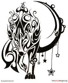 Wolf and stars tribal