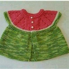 Ravelry: Watermelon baby cardigan pattern by Linda Cornes Parker Baby Cardigan, Baby Pullover, Baby Vest, Cardigan Pattern, Baby Knitting Patterns, Lace Knitting, Easy Crochet, Crochet Baby, Knit Crochet