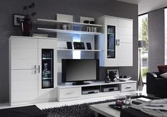Echotwo Modern contemporary wall unit entertainment center off white