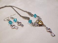 Steampunk necklace & earring set Blue by BulletsBeadsBaubles