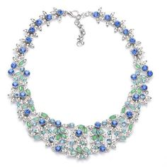 Kimberly floral crystal bib necklace