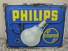 plaque émaillée ancienne  PHILIPS circa 1950