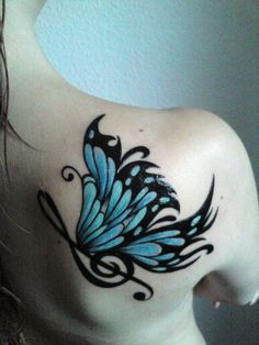 Blue butterfly tattoo on back shoulder - tattoos book - Blue Butterfly Tattoo, Butterfly Tattoo Meaning, Butterfly Tattoo On Shoulder, Butterfly Tattoos For Women, Back Of Shoulder Tattoo, Shoulder Tattoos For Women, Butterfly Tattoo Designs, Butterfly Music, Dragonfly Tattoo