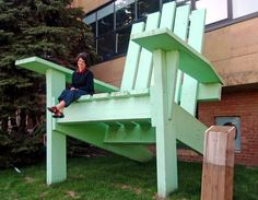 These giant Adirondack chairs may not be the best for lounging on your porch, but they sure do look neat.