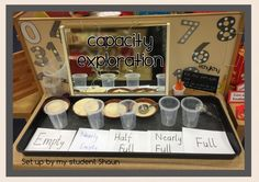 Measurement- Capacity exploration More Capacity Activities, Numeracy Activities, Measurement Activities, Math Measurement, Kindergarten Activities, Maths Eyfs, Eyfs Classroom, Preschool Math, Teaching Math