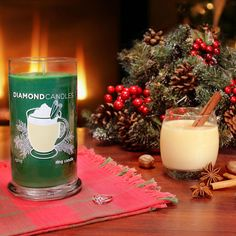 Spiced eggnog features warm spices of nutmeg, cinnamon and clove blended with touches of vanilla, brandy, coconut and caramel. | Diamond Candles - soy candles. #GiftIdeas #Christmas