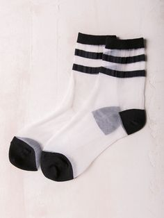 Sheer mesh socks with varsity stripe detail. One Size Fits Most Polyester… Ugly Socks, Cute Socks, Women's Socks, Mesh Socks, Sheer Socks, Shoes Without Socks, Unique Socks, Only Shoes, Fashion Now
