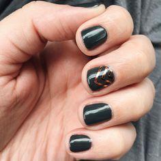 dark grey and copper foil gel nails