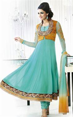 Lovely Sea Blue Anarkali Designer Salwar Suits VIVIO9613 - www.indianwardrobe.com