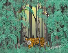 kinderbehang posterbehangdetails kinderbehang-jungle-met-wilde-tijger