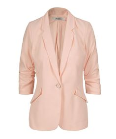 Knit Ruched Sleeve Blazer