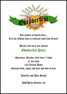 Creative Invitations Announcements Cards for All Occasions at CardsShoppe: Discounted Oktoberfest Toast Celebration Invitatio. Oktoberfest Invitation, Oktoberfest Party, Invitation Wording, Invitation Design, Invite, Holiday Party Invitations, Announcement Cards, Time To Celebrate, Holiday Parties