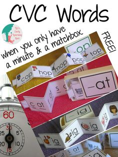 When there's only a minute to learn grab these FREE CVC matchbox games!
