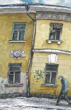 Алена Дергилева. Четыре окна в Сверчковом переулке. 2004. Бумага, акварель