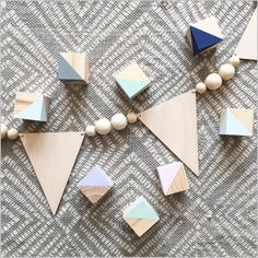 Image of Wooden Bunting Bead Garland