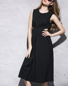 Black Solid Sexy Cut Out Jumpsuit, Black, yimei | VIPme