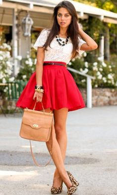 high waisted skirt! I absolutely adore this red high waisted full skirt... I'd say it is a full a-line skirt?!!? The white blouse totally makes it pop...& the animal print heels are the perfect shoes for this outfit!!! The nude purse is perfect w/this as not to add any additional colors w/this classicly beautiful outfit!!!