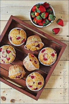 My Diverse Kitchen - Food & Photography From A Vegetarian Kitchen In India : Eggless Strawberry Muffins Eggless Muffins, Eggless Desserts, Eggless Recipes, Eggless Baking, Vegan Baking, Healthy Desserts, Egg Free Recipes, Cupcake Recipes, Baby Food Recipes