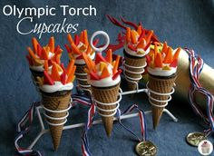 Olympic Torch Cupcakes  -Olympic Party