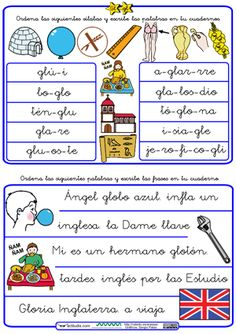 Ordenar palabras y frases con trabadas Gl School, Magnetic Letters, Quotes Kids, Words, Learning To Write