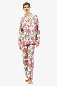 b1a901aae7 Get cozy with our comfy cotton pajama set that includes pants with an  elastic back waist and drawstring front and a matching button-up top