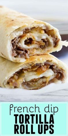 lunch recipes Fast and easy - these French Dip Tortilla Roll Ups have all the flavors of a French Dip Sandwich, but rolled up into a tortilla instead! These are perfect for those weeknight dinners when you need to get something tasty on the table quickly. Beef Dishes, Food Dishes, Main Dishes, Mexican Food Recipes, Beef Recipes, Cooking Recipes, Recipies, Roll Ups Recipes, Healthy Recipes