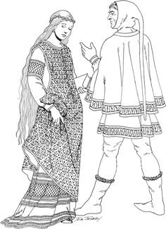 German Upper Class Left: maid wears front laced, diapered surcoat over embroidered short-sleeved bliaud and simple chemise. jeweled circlet on head. lack of headrail/wimple indicates she is a maiden.  Right: man wears hood with a liripipe under his cape and tunic. wears wool tights and soft leather and fur trimmed boots (13th C)