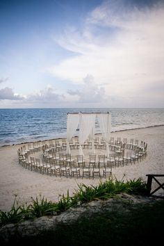A unique way to set up your beach ceremony at Now Sapphire Riviera Cancun. Everyone has a great view!