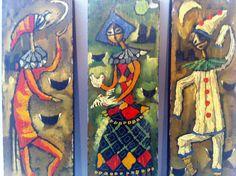 Three Mid Century Oil on Panel Italian Paintings Ettore Raccanello Venice Jesters