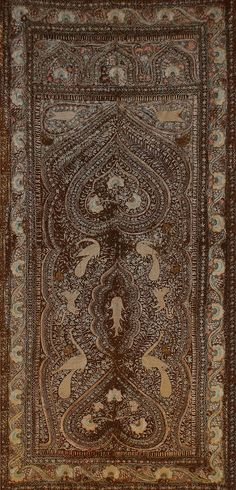 Antique Indian wall Hanging silk embroidery on felt 1800-1900 A.D