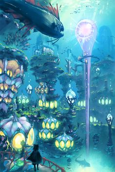 Hydropolis is official concept artwork for role-playing video game Ni no Kuni II: Revenant Kingdom. The game was developed by Japanese studio in close cooperation with animation studio Ghibli, and features character designs by Yoshiyuki Momose. Fantasy City, 3d Fantasy, Fantasy Places, Fantasy Setting, Fantasy World, Fantasy Concept Art, Fantasy Artwork, Fantasy Art Landscapes, Landscape Art
