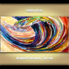 Original Abstract Wave painting modern large fine art acrylic on canvas 48 X 24 by Tim Lam