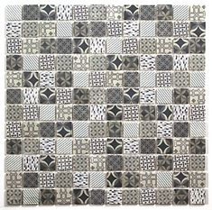 Casablanca White & blue Moroccan patterned Glass Mosaic tile, - B&Q for all your home and garden supplies and advice on all the latest DIY trends Matt Stone, Large Format Tile, Bathroom Color Schemes, Border Tiles, Grey Tiles, Glass Mosaic Tiles, Wet Rooms, Glass Material, Wow Products