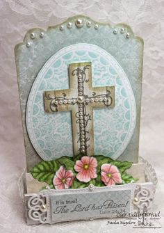 Stamps - Our Daily Bread Designs Floral Egg, The Lord is Risen, Cross with Vines, ODBD Custom Antique Labels & Borders Dies, ODBD Custom Vintage Flourish Pattern Dies, ODBD Custom Recipe Card and  Tags Dies, ODBD Shabby Rose Paper Collection