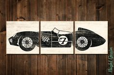 DESIGN: Vintage Martin Race Car AVAILABLE IN: custom colors using our chart SIZE OPTIONS: 12x36 PANEL TYPE: Mounted Archival Prints on Wood Panels