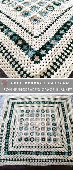 Grace Blanket Crochet Pattern Free Grace Blanket Crochet Pattern Free This project doesn't take advertising to be taken. Crochet Pattern Free, Crochet For Beginners Blanket, Baby Blanket Crochet, Crochet Blankets, Crochet Bedspread, Crochet Afgans, Crochet Hats, Crochet Flower, Round Loom Knitting